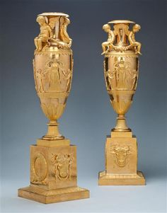 A PAIR OF GILT BRONZE EMPIRE VASES, France, circa 1810 | London | Mallett Antiques