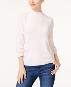 Karen Scott Luxsoft Mock-Neck Sweater, Created for Macy's - Tan/Beige XXL
