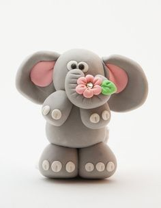 Flowers for You Polymer Clay Elephant Figurine Fondant Figures, Fondant Cake Toppers, Polymer Clay Figures, Polymer Clay Animals, Fimo Clay, Polymer Clay Projects, Polymer Clay Creations, Polymer Clay Elephant, Elephant Cakes
