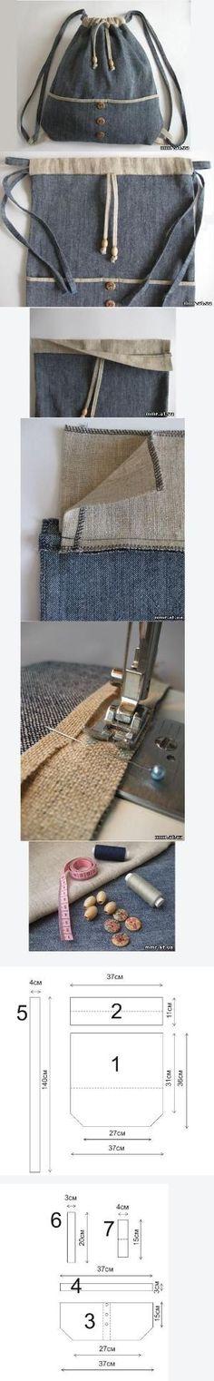 New sewing bags drawstring fabrics Ideas Sacs Tote Bags, Backpack Bags, Drawstring Backpack, Sewing Tutorials, Sewing Patterns, Denim Bag Patterns, Diy Sac, Denim Crafts, Patchwork Bags