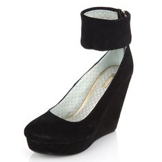 Suede covered wedge platform pumps with ankle strap from Matiko