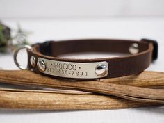 Cat collar leather cat collar Crazy horse collar