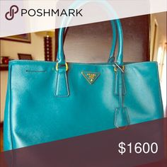 Prada Tote Prada small safiano vernice double zip tote in Teal. This bag is one a kind. It's the perfect spring/summer bag. A beautiful color. Prada Bags Totes