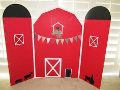 Barn back-drop made from trifold poster board and paint