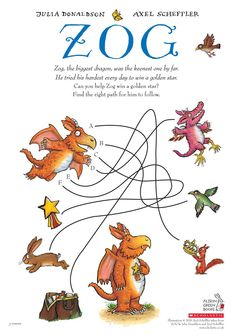 Can you help Zog navigate the maze to find the golden star? Julia Donaldson Books, Early Years Practitioner, Axel Scheffler, Sea Of Monsters, Twilight Quotes, A Dance With Dragons, Dragon Birthday, Can You Help, Activity Sheets