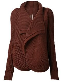 Blood brown wool ribbed cardigan from Rick Owens featuring a shawl collar, long sleeves, a ribbed hem and cuffs, an asymmetric hem and a piped seam detail. Shawl Collar Cardigan, Chunky Knit Cardigan, Brown Cardigan, Open Cardigan, Knitwear Fashion, Knit Fashion, Handgestrickte Pullover, Pull Gris, Cardigan Design
