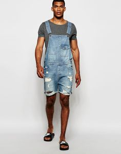 Denim dungaree shorts for men