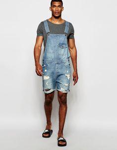 Denim dungaree shorts for men