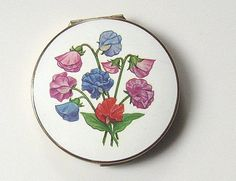 Vintage English Stratton Powder Compact w Enamel Hand Painted Flowers on Lid | eBay