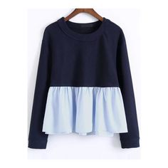 SheIn(sheinside) Color Block Ruffle Hem 2 In 1 Sweatshirt ($21) ❤ liked on Polyvore featuring tops, hoodies, sweatshirts, navy, navy pullover, blue sweatshirt, color-block sweatshirt, sweater pullover and ruffle hem top