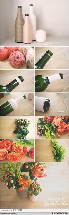 So easy to do this. Ask your family and friends to collect their bottles and get some string and you have a great and easy centerpiece