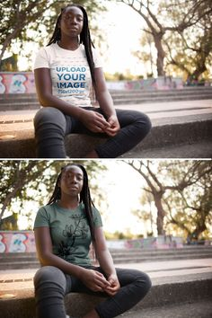 Young Girl with Dreadlocks Wearing a Tshirt Template While Sitting Down in the City