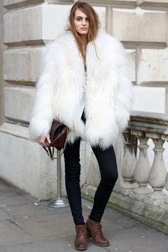 Love the mix of glam fur with borrowed-from-the-boys shirt and