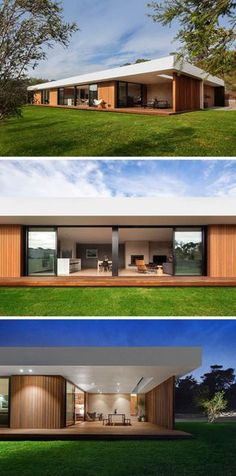 Long sliding glass doors along the back side of this home open up onto the backyard as well as onto a covered, lit dining patio, making outdoor dinner parties possible even on rainy nights. Modern Villa Design, Australian Homes, Indoor Outdoor Living, Modern House Plans, Facade House, Bungalows, House Front, Future House, Building A House