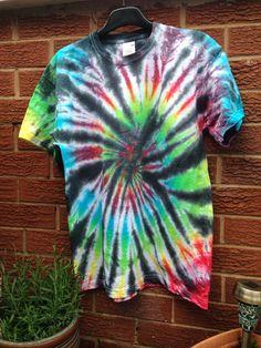 TIE DYE |  Medium Unisex Tee ~ Dark Rainbow on Etsy, £10.00 Pixie, Tie Dye, Rainbow, Crafty, Unisex, Dark, Medium, Trending Outfits, Tees