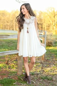 Hello Gorgeous! This dress is effortlessly beautiful! Must have, ivory dress with lace detail! Want, need, love!