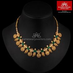 Jewelry Set Mix of Mangoes and Lakshmi With Emeralds - Necklace L : inches; W : 1 inch Long Pearl Necklaces, Diamond Necklaces, Emerald Jewelry, Gold Jewelry, Gold Bangles, Wire Jewelry, Gold Jewellery Design, Bead Jewellery, Handmade Jewellery