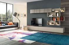 Wohnzimmer Wohnwand mit offenen Fächern-Bücherregal System