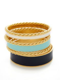 KEP Set Of 6 Navy, White, & Opal Enamel Bangle Bracelets