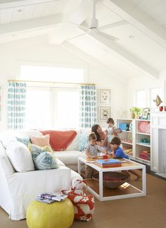 Family Room #beach #decor #remondeling love the white with the pointed ceiling makes it seem larger