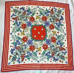 """VTG RED /WHITE 100% COTTON FLORAL BUTTERFLY SCARF-ARGENTINA-30"""" SQUARE NWT"""