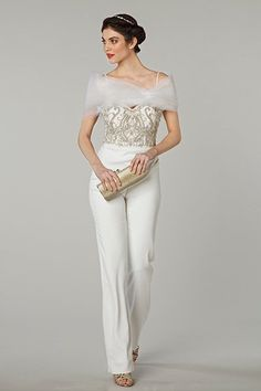 Jumpsuit with embroidered bodice by Tony Ward.