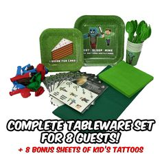 Deluxe Tableware Set for Mine Craft Themed Birthday Parties (Service for 8)