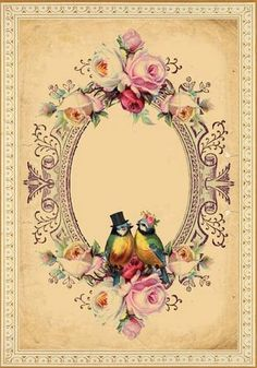 Vintage Roses and Birds Frame ~ PAPIROLAS COLORIDAS