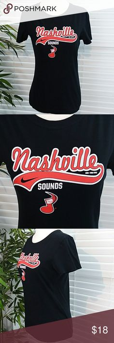"Nike Nashville Sounds Baseball Short Sleeve Tee Nike Nashville Sounds (Minor League Baseball) T-Shirt. Short Sleeve Slim Fit. Black with Graphic Print. 100% Cotton. All measurements are appoximate laying flat and unstretched. Armpit to Armpit 16"". Shoulder to Hem 23.5"". Size M Nike Tops Tees - Short Sleeve"