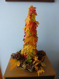 Autumn leaves tree, fabric leaves, dried flowers and trim