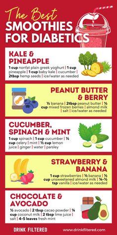 Diabetic Smoothie Recipes, Diabetic Food List, Diabetic Drinks, Diabetic Tips, Diabetic Meal Plan, Smoothies For Diabetics, Snacks For Diabetics, Healthy Recipes, Jus Detox