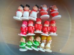 Teeny tiny vintage cupcake toppers miniature Christmas favors plastic cake decorations toppers holiday decorations cupcake top craft topping