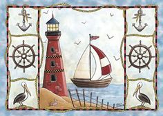 Lighthouse and sail boat                                                       …