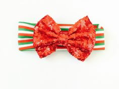 Christmas design Sequin Bow head wrap for infants and toddlers