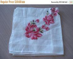50% OFF SALE Vintage Unused Machine Embroidered Pink Flower