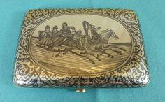 Superb Russian Sterling Silver Niello Cigarette Case Troika Horses Moscow Ca1905 #Russian