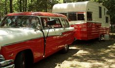 Red Chevy Station Wagon and a Red Shasta Camper | http://nancysvintagetrailers.blogspot.com/2010/07/matched-pair.html