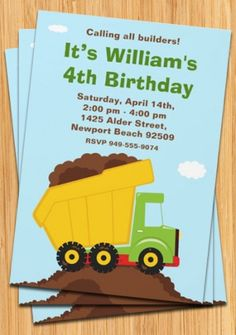 Dump Truck Birthday Party Invitation