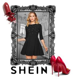 """""""SheIn: Black dress"""" by kacenka-1 on Polyvore featuring Christian Louboutin and LAQA & Co."""
