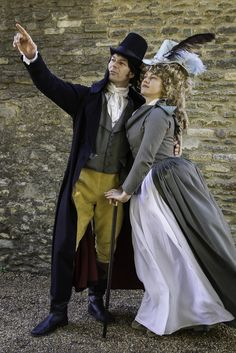 1790 couple - superfine wool coat, striped waistcoat, buckskin breeches ( made by farthingales); striped redingote, white cotton skirt,silk hat; by Prior Attire https://www.facebook.com/pages/Prior-Attire/140313531692?fref=ts
