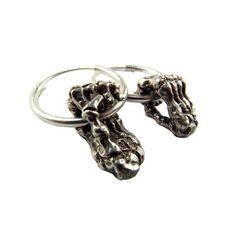 Silver Skeleton hands hoop earrings | momocreatura