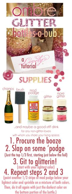 ombre glitter champagne bottles, the blog has pics of matching glasses too
