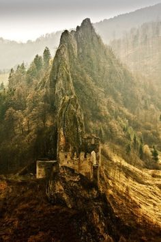 Lednica Castle, Slovakia , photo via by Jozef Sadecky One of the most inaccessible castles in Slovakia. It looks like an eagles nest & is believed to be a home of a ghost - The White Lady. To get to the inner part of the castle, you have to walk through the tunnel inside the rocky mountain and then climb 80 steps of the stone stairway.