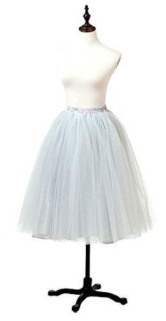 a37bc7c0c66 Ikerenwedding Women s A Line Knee Length Tutu Tulle Prom… Short Skirts
