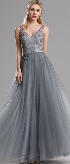 Plunging V Neck Lace Prom Evening Dress