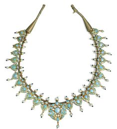 A turquoise-set and enamelled gold necklace, North India, 19th century