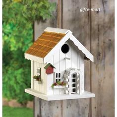 distressed shabby cottage WHITE chic Wood fairy garden Bird house birdhouse #Unbranded #Birdhouses