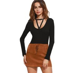 T-shirt Women Black Strappy Cut Out Scoop Neck Ribbed Women Casual Long Sleeve T-shirts Sexy