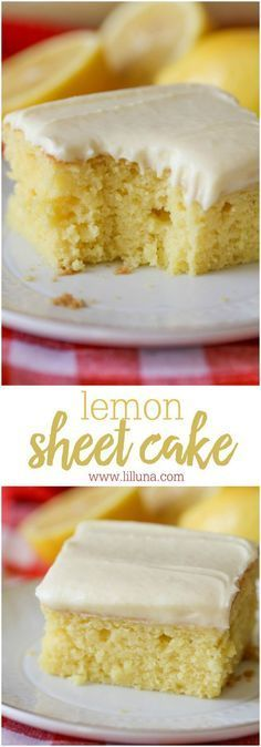 Lemon Sheet Cake with Lemon Buttercream Frosting Recipe via lil' luna - The perfect dessert for Easter Dinner and Mother's Day Brunch this spring! Super moist and delicious Lemon Sheet Cake recipe topped off with a tasty lemon buttercream frosting - our new favorite dessert!