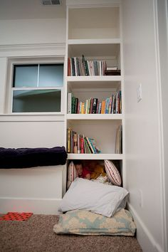 playroom shelves Playroom Shelves, Playroom Ideas, Playrooms, New Room, Basement, Clever, Bookcase, Sweet Home, Arts And Crafts